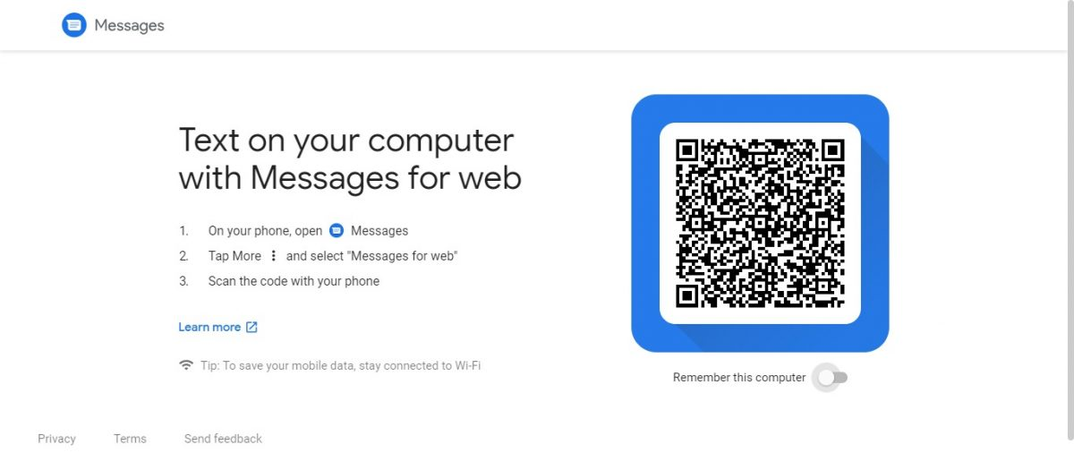 Google Messages for web